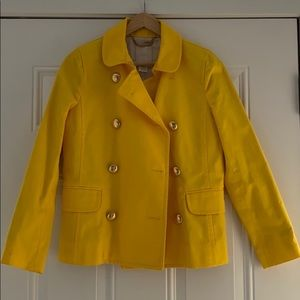 Jcrew bright yellow trench cotton pea coat
